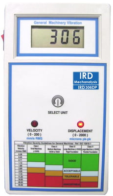 IRD306DP - Digital Vibration Meter with Standard Accessories, Displacement and Velocity Measurement