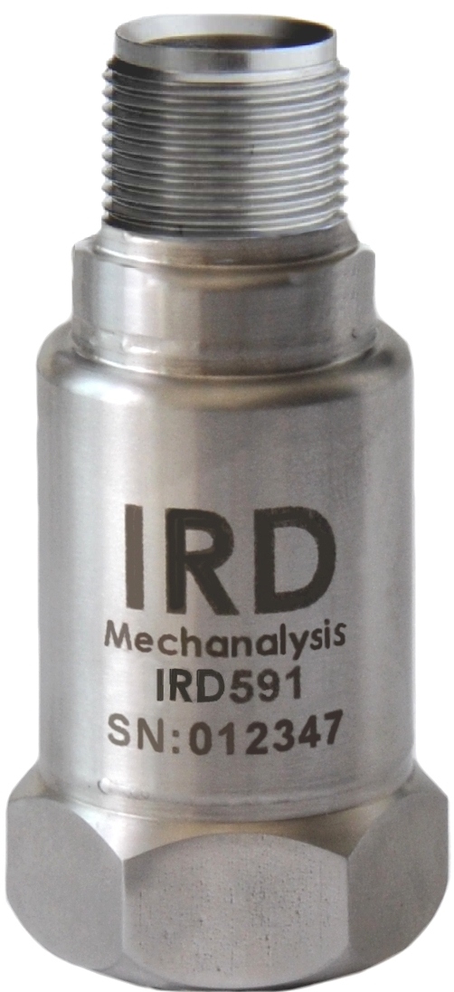"IRD591 - Loop Powered 4-20mA output, SS316L, 0-25 mm/s rms, 2 Pin MS, 1/4-28"" UNF female"